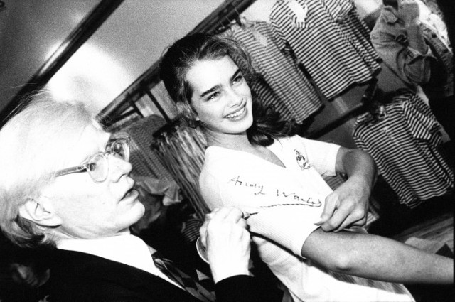 Andy Warhol and Brooke Shields in the Fiorucci store, NY (Franco Marabelli)