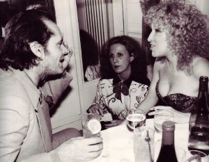 Frances Lynn, Bette Midler and Jack Nicholson at the Waldorf Hotel